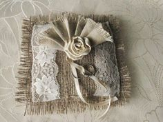 Rustic Wedding Ring Pillow Burlap and Lace Ring by HenrietteRenee, $25.00