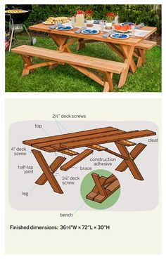 This classic Americana-style picnic table, with its X-shaped legs and separate benches, is roomy enough for six adults. It's rated Easy as a DIY project and should cost you about $250 for the cedar and take about two days to build with our instructions.