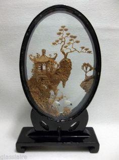 Vintage Chinese Cork Carving DIORAMA Black Lacquer Pagoda Garden CRANES