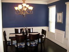 Great Dark Blue Dining Room With White Chair Rail And Molding