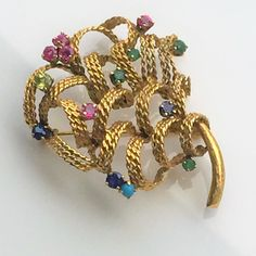 14K Multi Gemstone Floral Brooch, Ribbon Tree, Ruby Sapphire Emerald Citrine, Dimensional Heavy 17 grams