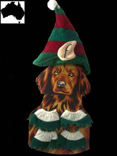 Medium Small Dog Pet Elf Hat Xmas Dress Outfit Costume Clothes Apparel Red Green