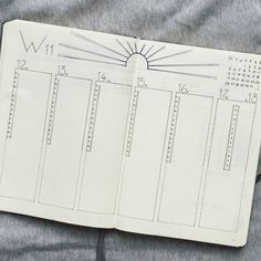 Bullet journal weekly layout, daily timelines, sun drawing. | @mediocre_bujo