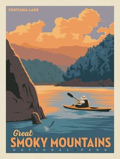 Anderson design group 61 american national parks great smoky mountains national park fontana lake best usa national parks with kids American National Parks, National Parks Map, Art Deco Posters, Vintage Travel Posters, Great Smoky Mountains, Fontana Lake, Party Vintage, Voyage Usa, Smoky Mountain National Park