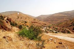 April 2008.  Tell Dhahab (West), [the white dot] is thought to be Penuel, the site where Jacob wrestled with the angel. Jabbok River is in the valley on the right.