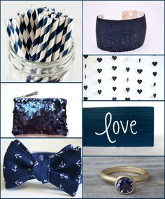 Into the Blue! Blue is a lovely wedding color for all seasons, but we are loving the navy palette for a winter wedding and all the lovely details of today's board. We are especially fond of the nautical bow tie and that glitter clutch!