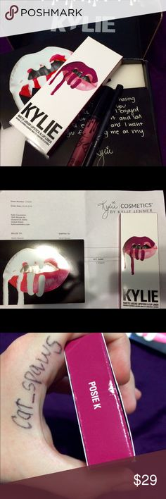 NEW IN BOX Kylie Cosmetics Lip Kit in Posie K Posie K is the best bright pop of PINK and it wears SO WELL!! Stays on for hours without having to reapply! (I have one myself! just selling the extras) NEW IN BOX lipstick AND liner, proof of purchase, original packaging in black Kylie box, INCLUDING KYLIE'S NOTE! what are you waiting for??? Make me an offer!! I'll probably accept it! :) ***Also available: Literally Gloss, So Cute Gloss, Heir, and Lip Kits: Dolce K, Exposed, and Posie K!*** see…