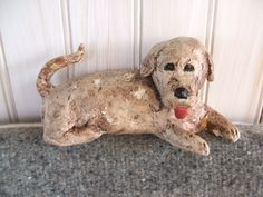 Vintage Handmade Cement Dog Figurine Statue by lookonmytreasures on Etsy
