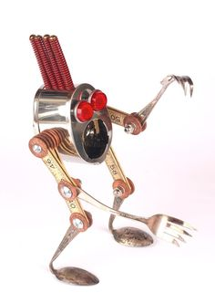 Creeper - Found Object Robot Assemblage Sculture By Brian Marshall