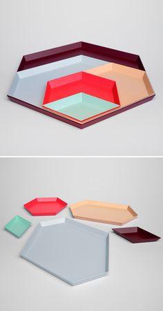 kaleido, steel nesting trays, by clara von zweigbergk for hay studio Module Design, Tadelakt, Minimal Design, Geometric Shapes, Design Elements, Interior Architecture, Home Accessories, Color Schemes, Craft Supplies