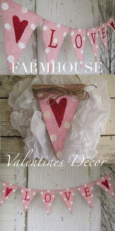 Farmhouse Style Valentines Day Love Banner. #ad Such a cute decoration for a mantle or old window. Even hang it over a picture or window. Love this! #farmhouse #farmhousestyle #farmhousedecor #valentinesday #valentines #valentinesdecor #decor #homedecor #holidaydecor #giftideas #rustic #rusticdecor #banner #garland #swag