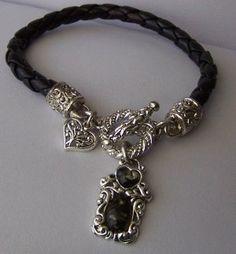 Braided Black Heart Love Western Charm Square Bracelet