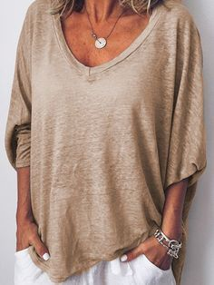 76345cac6f Women Long Sleeves V Neck Loose-Ness Fit Shirt Top Tunic