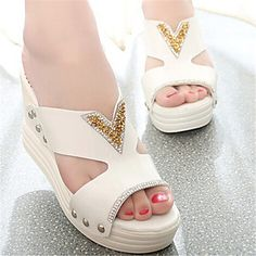 Women's Shoes Wedge Heel Open Toe Slippers Dress Blue/Pink/White - USD $ 17.99