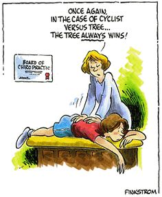 Chiropractic Cartoons : Once Again In the Case of Cyclist Versus Tree... the Tree Always Wins! #chiro #chiropractic