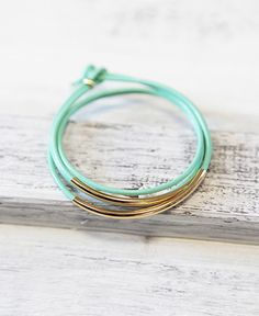 Shop for bracelet on Etsy, the place to express your creativity through the buying and selling of handmade and vintage goods. Cute Jewelry, Diy Jewelry, Jewlery, Green And Gold, Mint Gold, Candy Shop, Bangles, Bracelets, Gold Leather