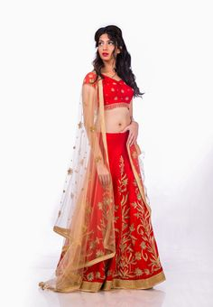 Red and golden embroidered bridal lehenga set from AO by Anita Ojha