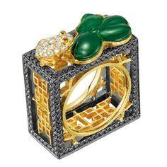 Jadeite and brilliant-cut diamond floral lattice ring in 18k blackened white gold;, $14540; Dickson Yewn, fragments.com