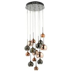 DAR Aurelia Black Chrome 15 Lamp Cluster Pendant with Copper Glass. DAR Lighting is part of the Pendant Lighting range. Cluster Lights, Drop Lights, Hall Lighting, Stair Lighting, High Ceiling Lighting, Hall Lights Ceiling, Lighting Ideas, Modern Ceiling, Ceiling Ideas