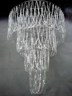 Large 4 Tiered Chandelier with Diamond Cut beads, Wedding Decor Direct