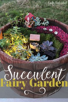 Add a fun & magical piece to your outdoor space with a DIY fairy succulent garden! It's so fun to create & is sure to put a smile on your face everytime!