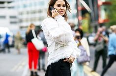 White blouse with frayed hems // Photo: The Styleograph #LFW #streetstyle