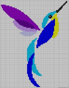 Hummingbird perler bead pattern Free Cross Stitch Chart Needlepoint Pattern