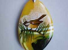 FREE SHIPPING Hand painted stone   Pendant  tit