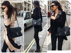 YSL monogram college quilted leather satchel on blogger Tijan Serena
