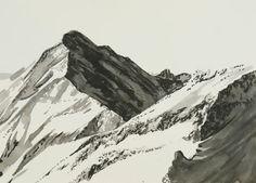 Ink drawing of a mountain scene by Nicole Heinzel