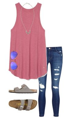 """Untitled #275"" by annakhowton ❤ liked on Polyvore featuring J Brand, Ray-Ban, Pamela Love and Birkenstock"