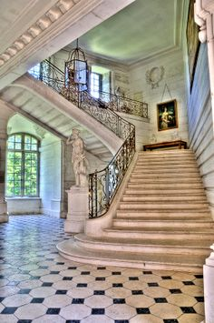 Chateau stairway Art Print by Jan Carr.