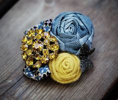 Mustard and Gray Vintage broach by Lanita on Etsy.com