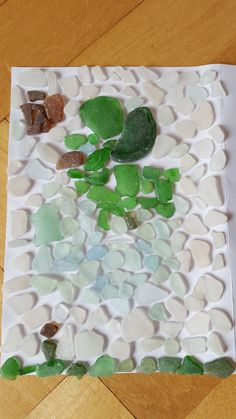 'Bird of the Sea', a sea glass mosaic. The sea glass is from Clevedon Sea Front.