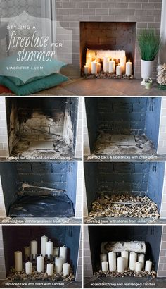 Styling Ideas for the Summer How I Styled My Fireplace for the Summer.I love the layer of texture the stones bring. (Lia Griffith)How I Styled My Fireplace for the Summer.I love the layer of texture the stones bring. Candles In Fireplace, Home Fireplace, Faux Fireplace, Fireplace Inserts, Decorative Fireplace, Empty Fireplace Ideas, Unused Fireplace, Fireplace Cover, Fireplace Design