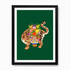 Good Luck Tiger Art Print by Camille Gressier. Shop unique, cool products on Fy ✓ Free, fast shipping ✓ 28 day returns ✓ Rated / 5 by of shoppers Harmony Art, Lion King Art, Tiger Art, Cat Art Print, Square Art, Yellow Art, Fine Art Prints, Poster Prints, Printers