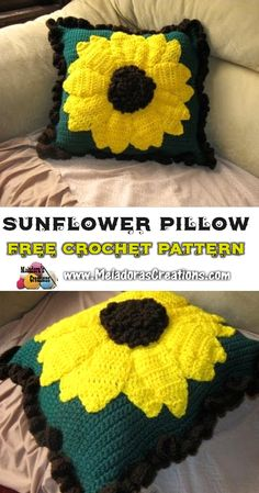 Crochet Flowers Design Large Sunflower Pillow - Free Crochet Pattern - This Your place to Learn to make the Large Sunflower Pillow For FREE. by Meladora's Creations - Free Crochet patterns and Video Tutorials Crochet Puff Flower, Crochet Sunflower, Crochet Flower Patterns, Crochet Stitches Patterns, Crochet Designs, Crochet Flowers, Sunflower Pattern, Afghan Patterns, Crochet Video