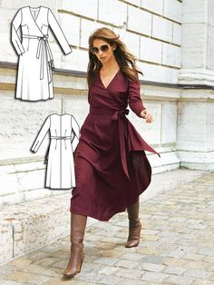 Ciao Bella: 9 New Women's Sewing Patterns - Modelos de Roupas - Fall Outfit New Dress Pattern, Dress Sewing Patterns, Pattern Sewing, Wrap Pattern, Wrap Dress Patterns, Burda Patterns, Clothes Patterns, Patterned Dress Outfits, Trendy Dresses