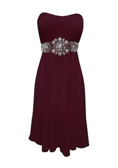 Strapless Chiffon Goddess Short Gown Prom Dress Formal Bridesmaid Junior Plus Size - Burgundy - 2XL Price: 	$39.99 - $74.86