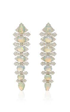 Opal Long Drop Earrings by Sutra Moonstone Jewelry, Diamond Jewelry, Types Of Opals, White Opal, High Jewelry, Jewelery, Fashion Jewelry, Drop Earrings, Gemstones