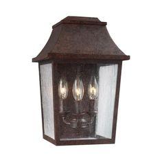 Feiss Estes 3 Lights Patina Copper Wall Lantern