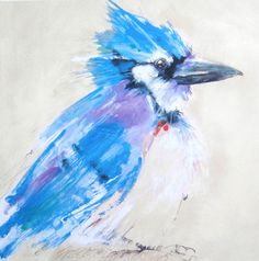 """Jazzy Jay. 6 5/8 x 6 5/8"""" watercolor by Sarah Rogers. Available as print $85."""