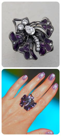 Statement Ring | Sterling Silver Oxidised; Purple Enamel; Cubic Zirconia | Designer Gigi Cheng | Special Event Style |