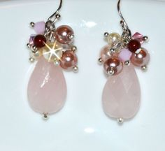 Rose Quartz Wedding Earrings Bridal Jewelry by JDSWeddings on Etsy http://www.etsy.com/listing/119149052/rose-quartz-wedding-earrings-bridal