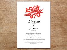 <p>A printable wedding invitation inspired by the traditional art of Chinese paper cutting. Your guests will be impressed when they recieve this stunning handmade wedding invitation. You'll love how easy it is to print your own wedding invitations. You can make about 50 in under an hour.</p>