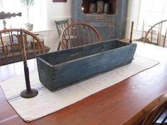 Primitive Old Canted Box for Your Farm Table Best Old Blue Paint