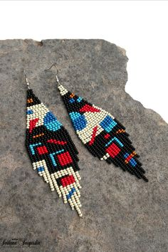 Mismatched Asymmetric Abstract Unusual earrings Geometric Statement Minimalist Modern Seed bead earrings Blue red Native bead earrings – Welcome Beaded Cuff Bracelet, Seed Bead Bracelets, Seed Bead Earrings, Beaded Jewelry, Red Earrings, Seed Beads, Diy Jewelry, Jewelry Making, Bead Earrings