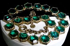 Vintage Talbots Prong Set Highly Faceted Large Emerald Green Rhinestone Necklace #Talbots #NecklacewithAdjustableLengthChain