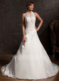 A-Line/Princess Halter Chapel Train Satin Wedding Dress With Beading Appliques Lace Sequins (002015162) - JJsHouse
