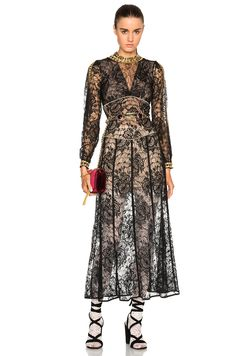 Image 1 of Alessandra Rich Peonia Lace Dress with Gold Macrame Chain in Black